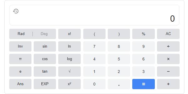 Googleで「計算機(電卓)」と検索すると計算機(電卓)が現れて計算出来る。