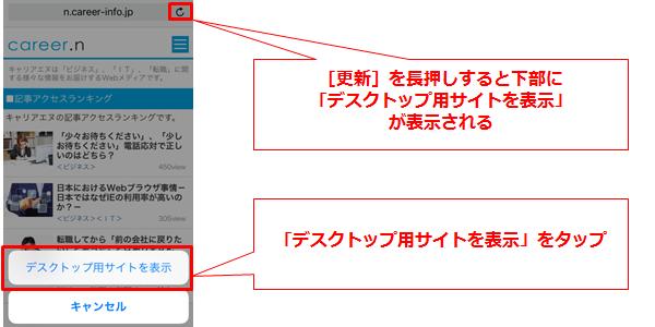 iPhone(iOS9、Safari)でPC版サイトを見る方法