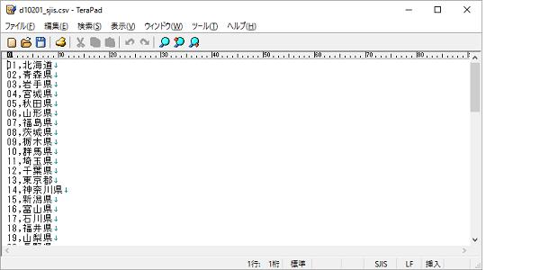 CSVファイルをテキストエディタ(TeraPad)で開いたイメージ