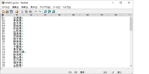 TSVファイルをテキストエディタ(TeraPad)で開いたイメージ